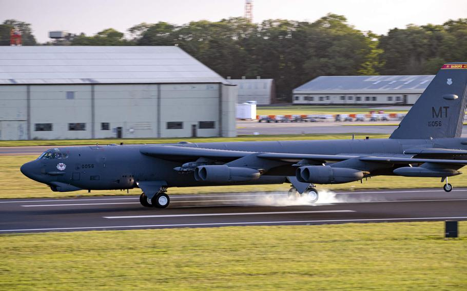 A B-52 Stratofortress lands at RAF Fairford, England, Aug. 22, 2020. Russian fighter planes flew unsafely within 100 feet of a B-52 over the Black Sea on Saturday, the U.S. military said.
