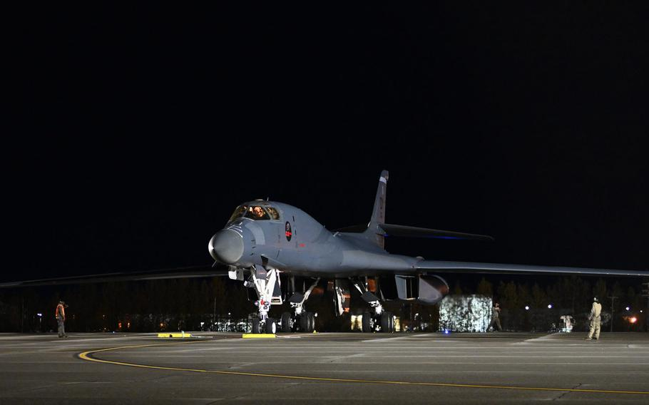 A B-1 Lancer arrives at Eilson Air Force Base, Alaska, Sept. 10, 2020, in support of a Bomber Task Force mission. Three B-1 bombers flew over the East Siberian Sea near Russia the week of Sept. 7, in the latest show of force by the Air Force.