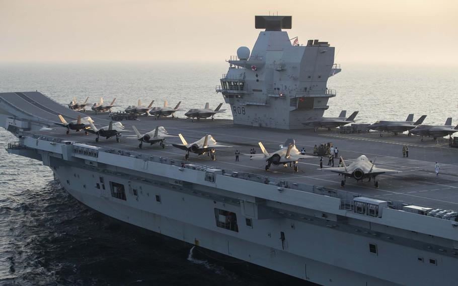 F-35B Lightning II Joint Strike Fighters assigned to Marine Fighter Attack Squadron 211, ''The Wake Island Avengers,''  and the United Kingdom's Lightning 617 Squadron shortly after embarking aboard the British aircraft carrier HMS Queen Elizabeth on Sept. 22, 2020, off the coast of the United Kingdom.