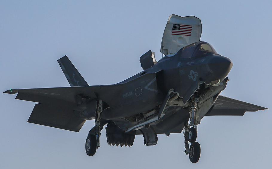 An F-35B Lightning II with Marine Fighter Attack Squadron 211 prepares to land aboard the British aircraft carrier HMS Queen Elizabeth off the coast of the United Kingdom on Sept., 2020.