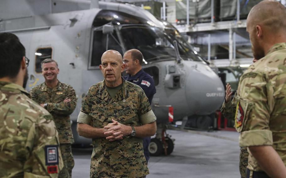 Marine Corps commandant Gen. David H. Berger visits the British aircraft carrier HMS Queen Elizabeth at sea off the coast of Flamborough, United Kingdom, on Oct. 1, 2020.