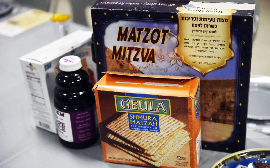 Matzah and traditional Seder foods during a Passover celebration at Grafenwoehr, Germany, Friday, April 19, 2017.
