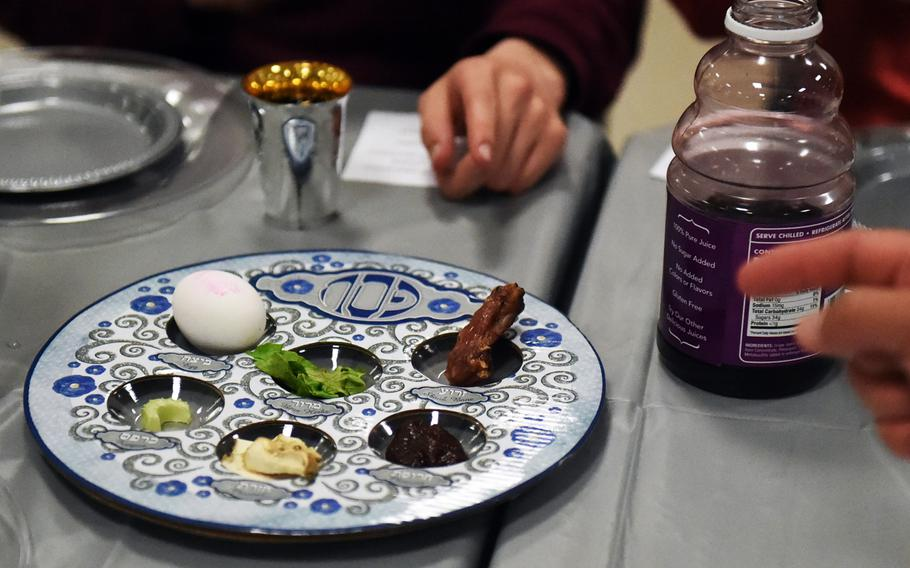 A Seder dish prepared for soldiers and families during a Passover celebration at Grafenwoehr, Germany, Friday, April 19, 2017.