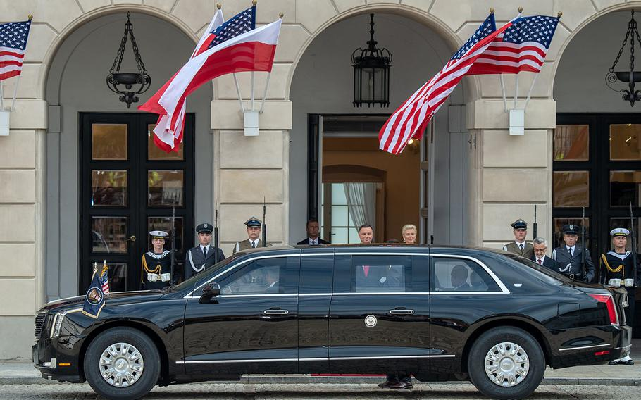 Poland President Andrzej Duda, center, and his wife, Agata, greet U.S. Vice President Mike Pence and his wife, Karen, as the Pences' car arrives at the presidential palace in Warsaw, Poland, on Monday, Sept. 2, 2019.