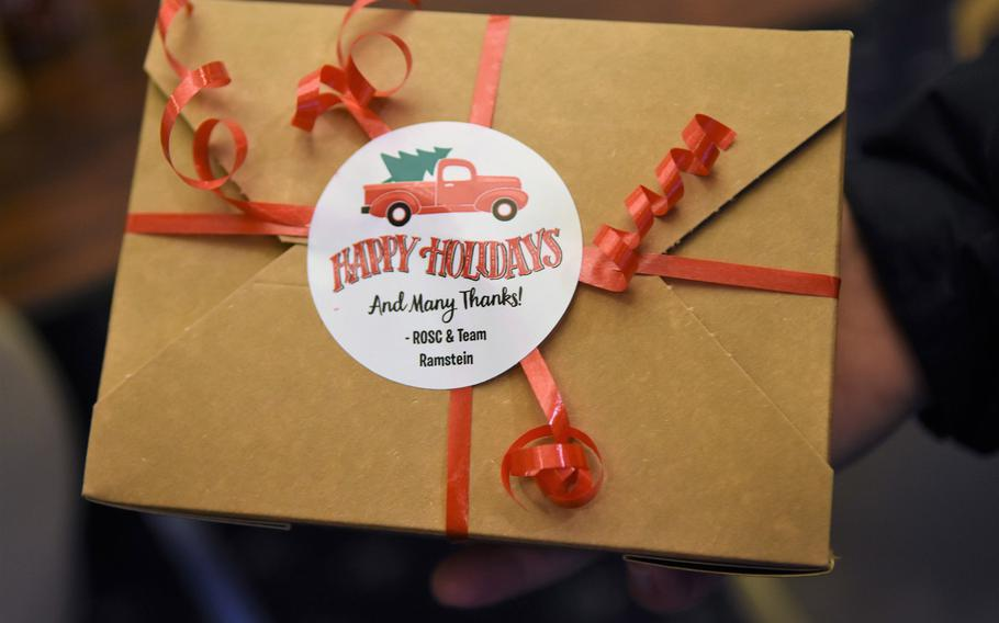 Dorm residents and unaccompanied personnel at Ramstein Air Base and Kapaun Air Station, Germany, are receiving boxes of a dozen holiday cookies.