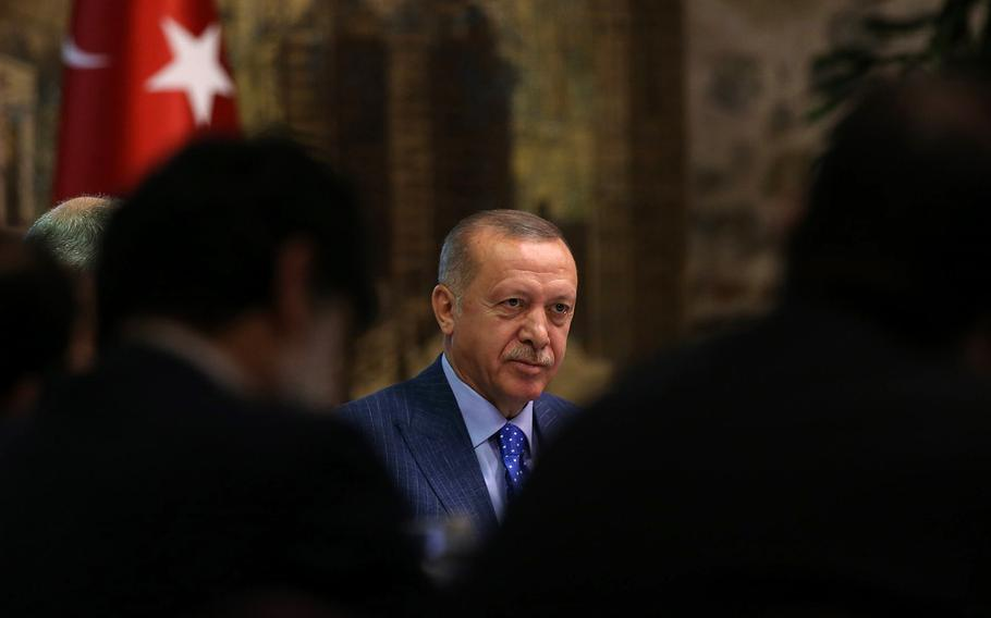 Turkish President Recep Tayyip Erdogan threatened Sunday, Dec. 15, 2019, to close military bases to the U.S. if sanctions are imposed.