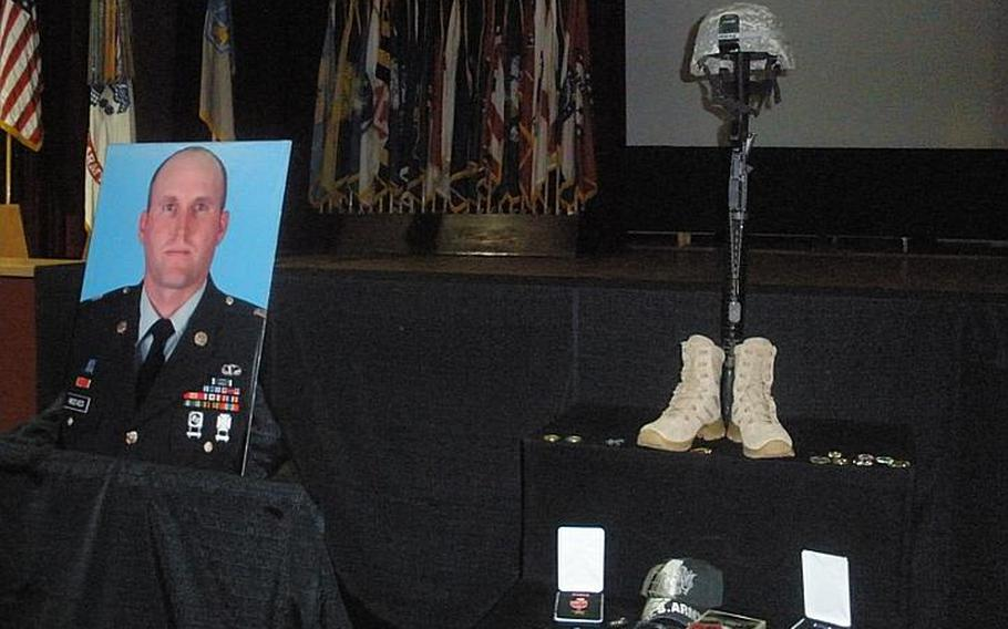 A memorial for Staff Sgt. Jason A. Reeves, a 66th Military Intelligence Brigade soldier who died in Afghanistan Dec. 5, was held at Hohenfels on Tuesday.