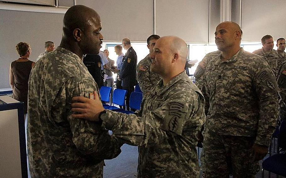 The ceremony at Böblingen police headquarters also was attended by U.S. soldiers from Spc. Willie Smith&'s unit, who came out to recognize the soldier's heroics.
