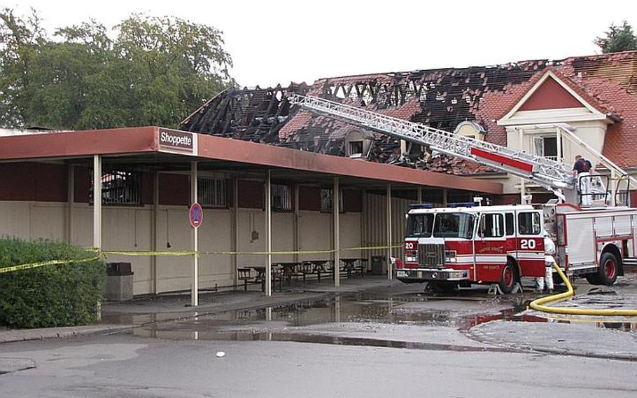 A fire has destroyed the AAFES shoppette on Kleber Kaserne. A bystander told Stars and Stripes that fire officials said the blaze started after midnight, and local German firefighters were called in to assist.