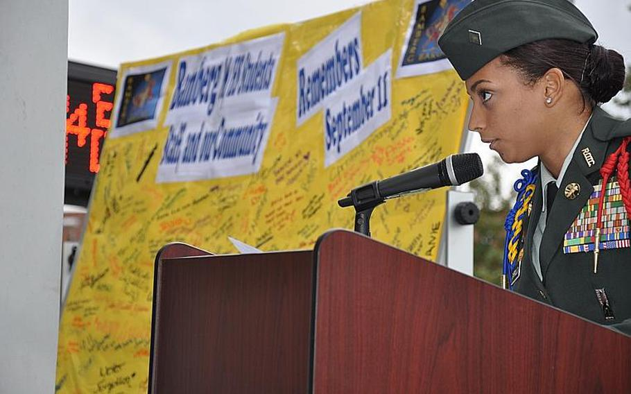 Cadet Maj. Rosaliz Carrillo, a senior gives a speech to her fellow students at the Bamberg Middle/High School Friday during a 9-11 remembrance ceremony.