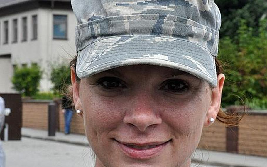 Air Force Tech Sgt. Monica Pubillones, an air traffic controller with the 86th Operations Support Squadron, took part in a ceremony at Ramstein Air Base Friday, which commemorated the 10th anniversary of the 9/11 terrorist attacks.