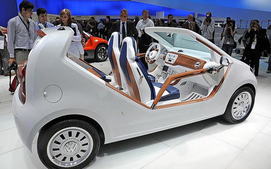 Volkswagen introduced its new line of pint-sized up! cars, including many concept versions like the up! azzurra sailing team car, designed by Italy's Giorgetto Giugiaro and Walter de Silva.