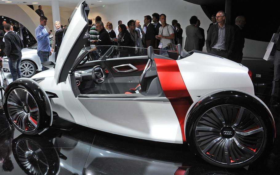 The Audi urban concept Spyder debuted at this year's Frankfurt International Motor Show. It is an electric two-seater with, according to Audi, a range of just over 45 miles. The battery recharges completely in about one hour with 230-volt household current.