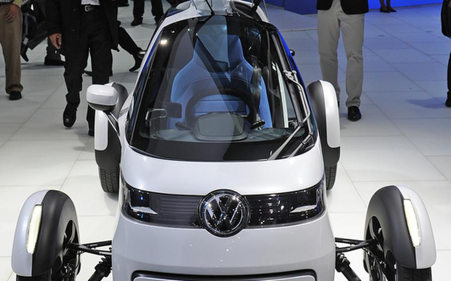 The Volkswagen Nils is being shown at this year's Frankfurt International Motor Show. According to the German carmaker, it is a study of a single-seat electric vehicle with free-standing wheels, developed for commuters in the world of tomorrow. VW was one of many makers showing tiny fuel-efficient cars.