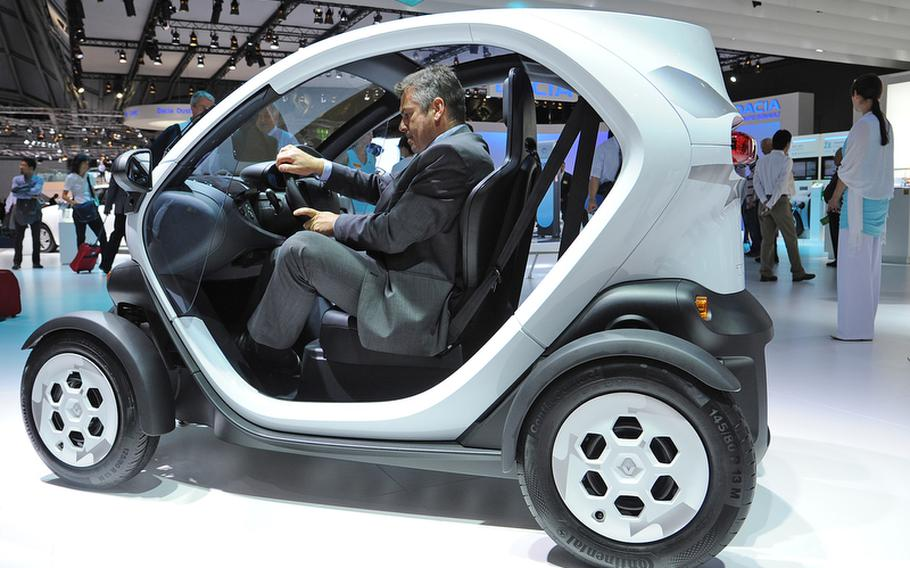 The Renault Twizy is a small, electric-powered two-seater that will cost around 7,000 euros.