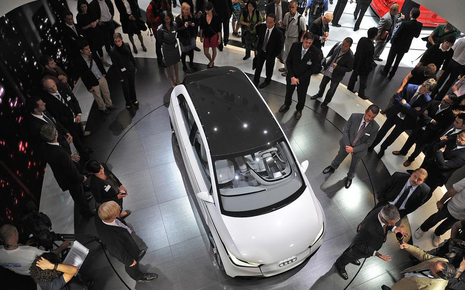 Audi showed the A2 Concept at the Frankfurt International Motor Show, an electric-powerd followup to their discontinued A2 fossil fuel car.