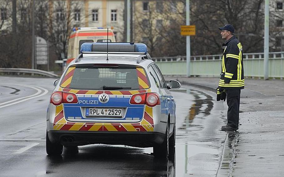 Police and medical personnel cruised empty streets in Koblenz, Germany, on Dec. 4, 2011, where authorities ordered tens-of-thousands of residents to  leave while experts deactivated a 4,000 pound bomb, believed to have been dropped during World War II.