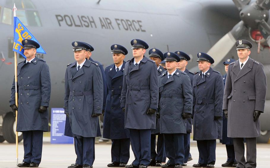 Airmen of Detachment 1, 52nd Operations Group at their activation ceremony in Lask, Poland, Friday.  Detachment 1 is the first U.S. military unit permanently stationed in Poland.