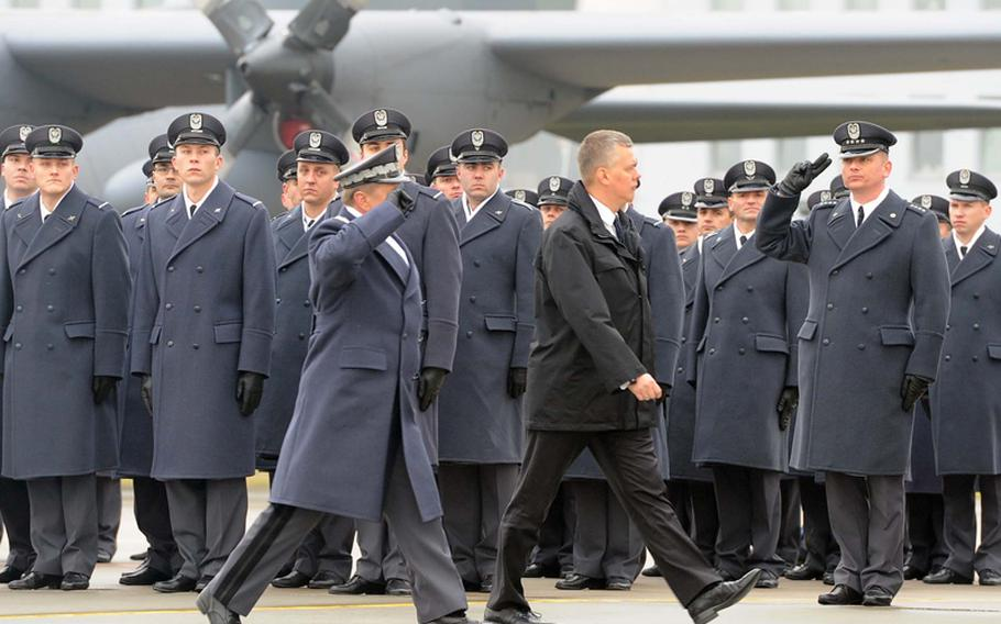 Polish Defense Minister Tomasz Siemoniak inspects his servicemembers at the beginning of the activation ceremony for Detachment 1, 52nd Operations Group in Lask, Poland, Friday. Detachment 1 is the first U.S. military unit permanently stationed in Poland.