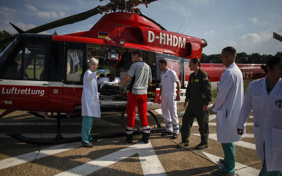 A German medical helicopter transports a patient on extracorporeal membrane oxygenation treatment from Wurzburg, Germany, to Landstuhl Regional Medical Center on July 9, 2013.