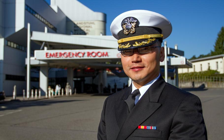 Already a world-class neurosurgeon, Kendall Lee joined the U.S. Navy Reserve at the age of 42 in part to give something back to his adopted homeland. Now 44, he is serving his first tour on active duty as a Navy commander at Landstuhl Regional Medical Center in Germany.