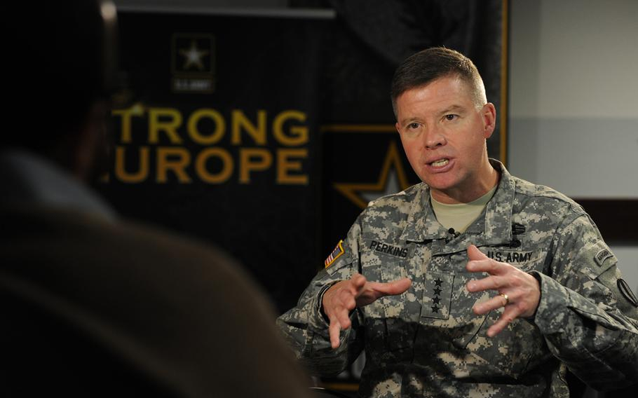 Gen. David G. Perkins, commanding general, U.S. Army Training and Doctrine Command in Wiesbaden, Germany, Monday, Jan. 26, 2015.