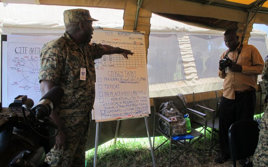 A Ugandan solider gestures leads a briefing at the Eastern Accord 2015 exercise, in which troops were supposed to respond to a scenario of armed conflict and a resulting humanitarian crisis.