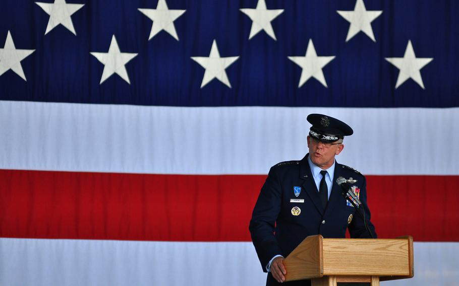 Gen. Frank Gorenc, commander of U.S. Air Forces in Europe and Africa, speaks Thursday, July 2, 2015, at the change of command ceremony for 3rd Air Force, headquartered at Ramstein Air Base in Germany.