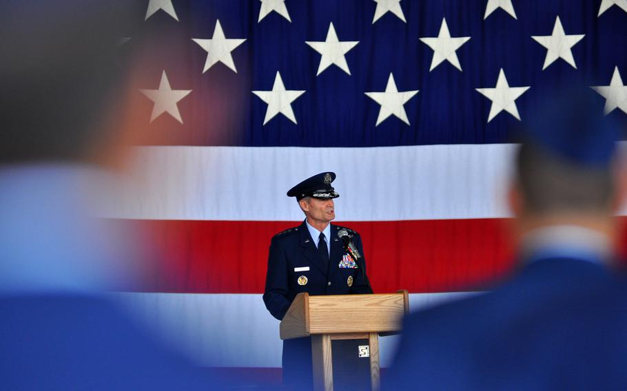 Lt. Gen. Darryl L. Roberson delivers remarks prior to officially handing over command of 3rd Air Force to his successor, Lt. Gen. Timothy M. Ray, during a change of command ceremony Thursday, July 2, 2015, at Ramstein Air Base in Germany.