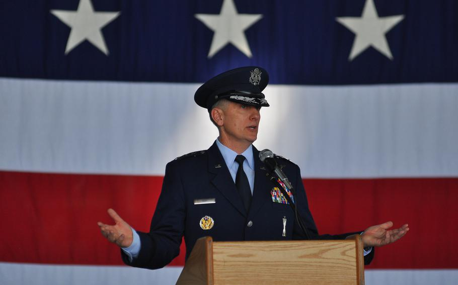 Lt. Gen. Timothy M. Ray delivers his first remarks as commander of 3rd Air Force and 17th Expeditionary Air Force during a change of command ceremony Thursday, July 2, 2015, at Ramstein Air Base in Germany.