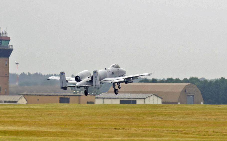 An A-10 Thunderbolt II takes off from RAF Lakenheath, England, on July 15, 2015. Two A-10s came to England to train and participate in air shows.