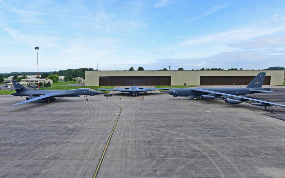 A B-1B Lancer, B-2 Spirit and B-52 Stratofortress are parked on the ramp at RAF Fairford, U.K., June 12, 2017. This marks the first time in history that all three of Air Force Global Strike Command's strategic bomber aircraft are simultaneously in the European theater.