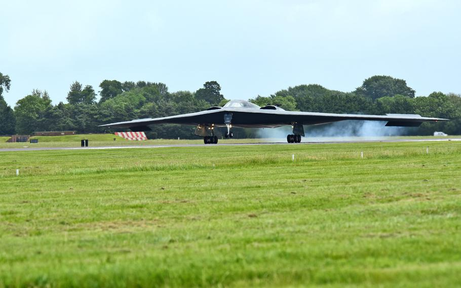 A B-2 Spirit deployed from Whiteman Air Force Base, Mo., lands on the flightline at RAF Fairford, U.K., June 9, 2017. The B-2 regularly conducts strategic bomber missions that demonstrate the credibility of the bomber forces to address a global security environment.