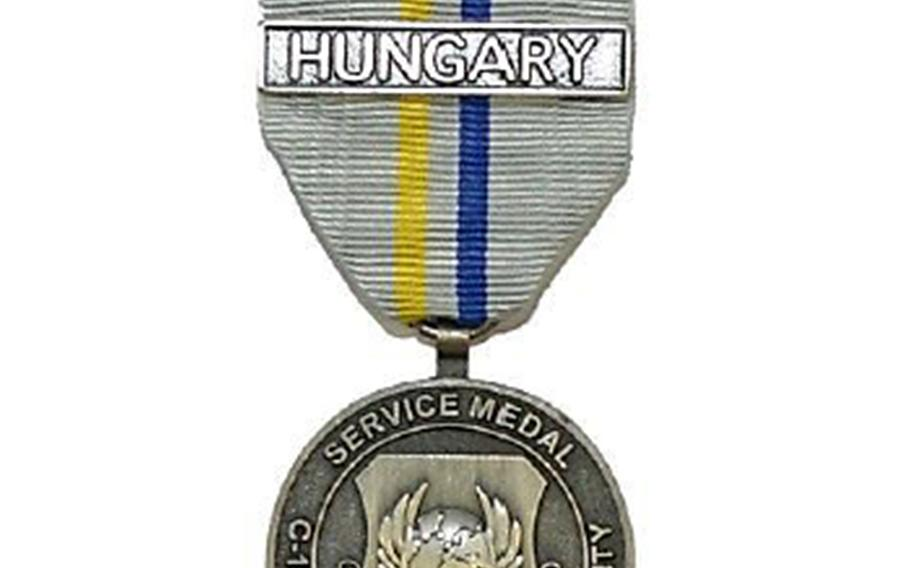 The new performance medal approved for airmen serving with a multinational wing in Hungary.