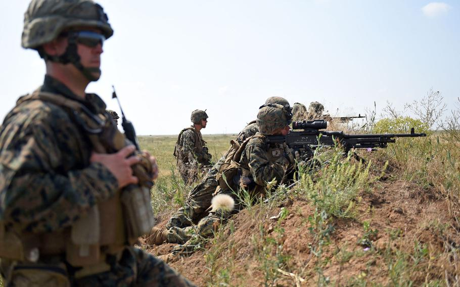 A group of U.S. Marines with the 2nd Battalion, 25th Marine Regiment, engages targets while training with Ukrainian marines during the Sea Breeze exercise near Mykolaiv, Ukraine, in 2018.