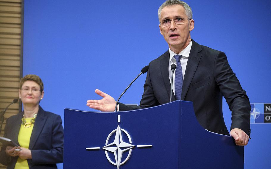 NATO Secretary-General Jens Stoltenberg talks to the media at the alliance's headquarters in Brussels, Belgium, Monday, April 1, 2019, ahead of the meeting of NATO foreign ministers in Washington that begins Wednesday.