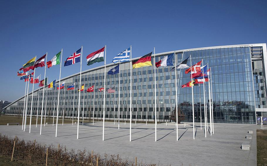 A view of  NATO headquarters in Brussels, Belgium. According to observers, a chief concern as the alliance turns 70 is that the source of tension is mainly coming from NATO's two most important member states: the U.S. and Germany.