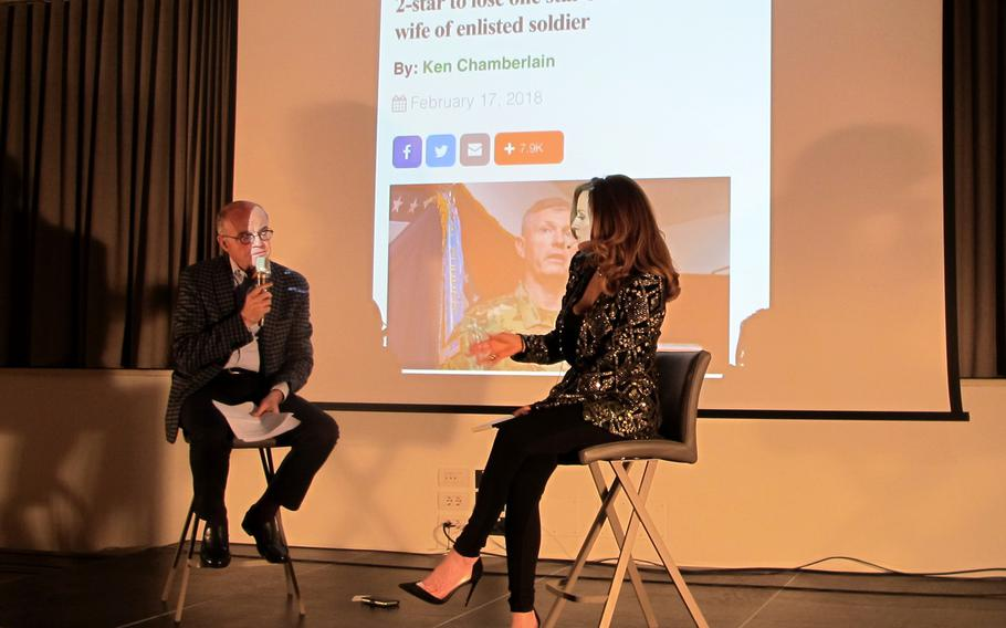 """A book launch for Michela Morellato's lightly fictionalized memoir """"A Talent for Trouble,"""" included discussion about her relationship with Maj. Gen. Joseph Harrington. Harrington lost a star and was forced to retire because of flirtatious texts to Morellato, the wife of a 173rd Airborne Brigade soldier."""