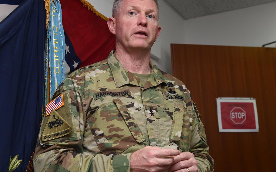 U.S. Army Maj. Gen. Joseph Harrington addresses soldiers at Camp Lemonnier, Djibouti, March 22, 2017. Michela Morellato, a local Vicenza woman married to a 173rd Airborne Brigade soldier, has published a memoir that includes her view of an episode involving the former commander of U.S. Army Africa, who was forced to retire at a reduced rank for his flirtatious texting relationship with her.