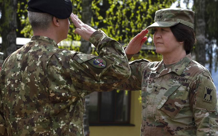 Romanian Maj. Gen. Gheorghe Vlad and U.S. Army Maj. Gen. Schanley, commander of the 416th Theater Engineer Command, salute one another during the opening ceremony of Resolute Castle 2019 at Cincu Joint National Training Center, Romania, April 24, 2019. National Guard units from across the U.S. this week began the long process of building up Polish and Romanian training facilities in Cincu and the Drawsko Pomorskie and Zagan Training Areas in Poland as part of the exercise.