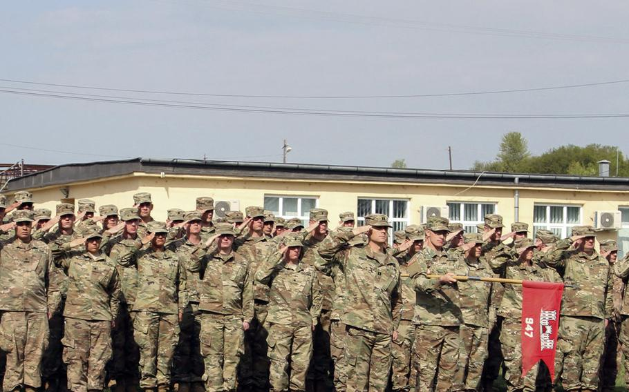U.S. Army engineers from the 947th Engineer Company, out of Montrose, Colo., present arms during the opening ceremony of Resolute Castle 2019 at Cincu Joint National Training Center, Romania, April 24, 2019. National Guard units from across the U.S. this week began the long process of building up Polish and Romanian training facilities in Cincu and the Drawsko Pomorskie and Zagan Training Areas in Poland as part of the exercise.