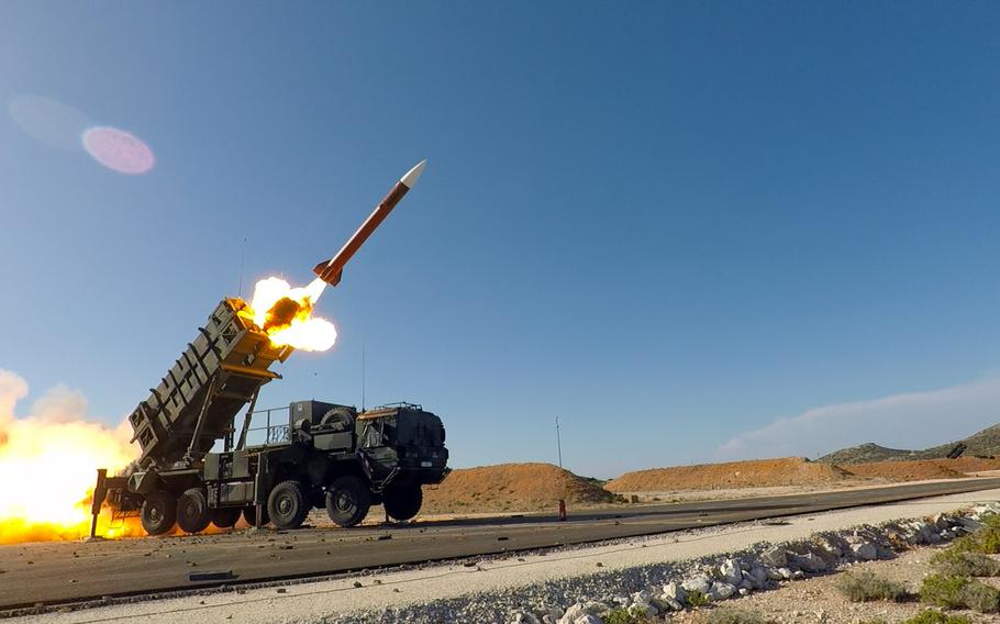 A Patriot missile is fired during Exercise Artemis Strike near Chania, Greece in 2017. The U.S. should pull a page from the Cold War playbook and drive Kremlin leaders to spend money in a tit-for-tat power game that its smaller economy cannot support, the Rand Corp. says in a new study.