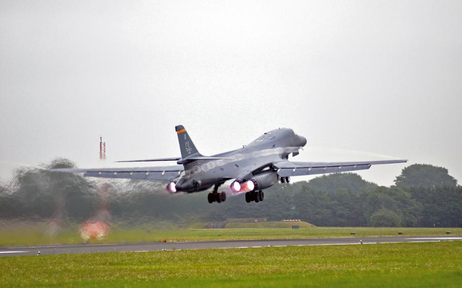 A U.S. Air Force B-1B Lancer from the 7th Bomb Wing takes off at RAF Fairford, England, in 2016, on a training mission. The U.S. should try to drive Russia to spend money in a tit-for-tat power game that its smaller economy cannot support, the Rand Corp. says in a new study. One tactic could be to move bombers within easy striking range of key Russian targets, which would raise the Kremlin?s anxieties.