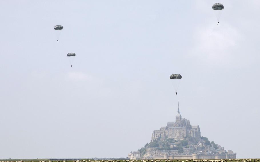 Soldiers assigned to the 10th Special Forces Group (Airborne) conduct an airborne operation near the island of Mont Saint Michel, France on Saturday May 18, 2019.