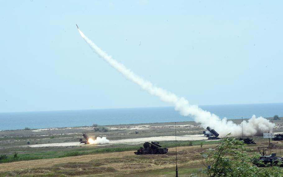 Patriot missiles being fired for the first time in continental Europe, by U.S. soldiers with 10th Army Air Missile Defense Command, in Capu Midia, Romania, on Thursday, June 20, 2019.