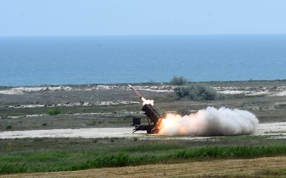 A Patriot Missile being fired by the 10th Army Air Missile Defense Command, in Capu Midia, Romania, on Thursday, June 20, 2019.