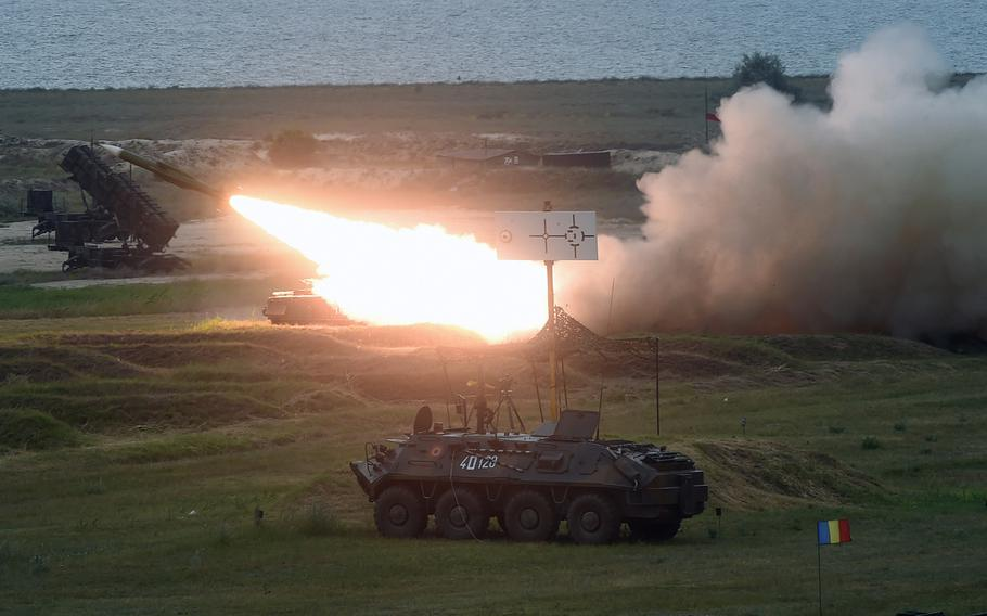 A Romanian SA-6 missile launcher being fired in Capu Midia, Romania, on Thursday, June 20, 2019.