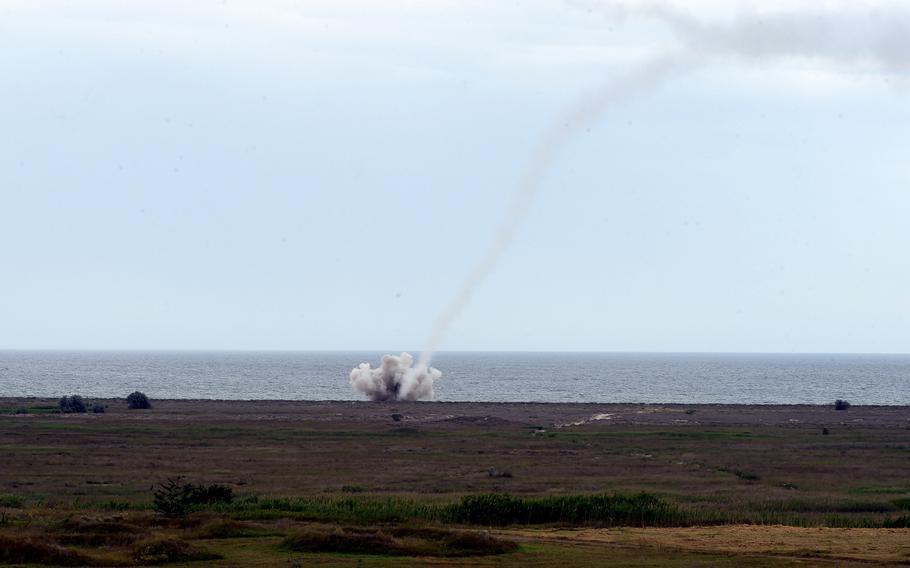 The impact of a Romanian SA-6 missile, in Capu Midia, Romania, Thursday, June 20, 2019.