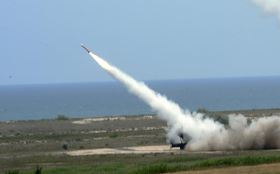 A Patriot missile being fired for the first time in continental Europe, by the 10th Army Air Missile Defense Command, in Capu Midia, Romania, on Thursday, June 20, 2019.