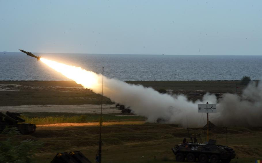 A Romanian SA-6 missile launcher being fired in Capu Midia, Romania, Thursday, June 20, 2019.